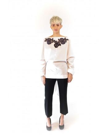 ANTONIO MARRAS - Camicia in cotone con pizzo - Bianco