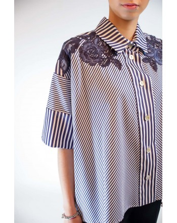 ANTONIO MARRAS - Camicia in cotone - Bianco/Blu