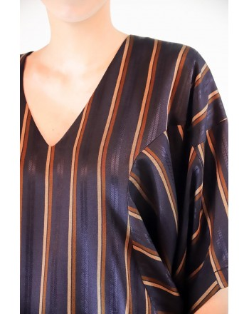 ANTONIO MARRAS - Blusa in Viscosa - Blu/Nero