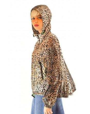 PINKO - Leopard Print Rainproof Jacket - Black/Beige