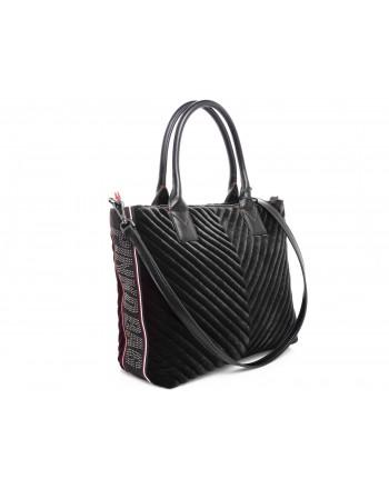 PINKO - Shopping bag ADAMS in Velvet - Black