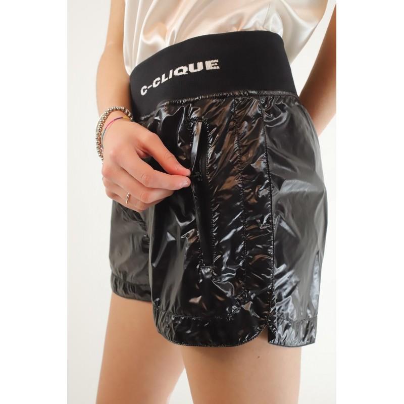 PINKO - Shorts in Tessuto Tecnico effetto Laccato ORIENTARE - Nero