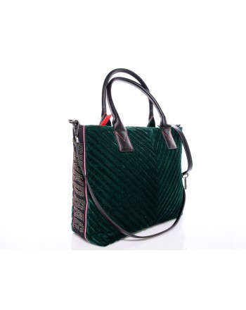 PINKO - Shopping bag ADAMS in Velvet  - Green