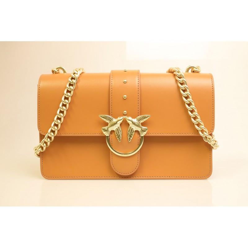 PINKO -Leather Bag LOVE SIMPLY- Light Brown