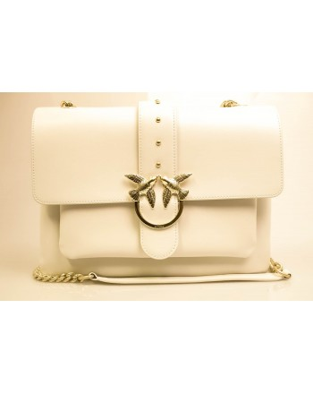 PINKO - Borsa in Pelle BIG LOVE SOFT - Bianco