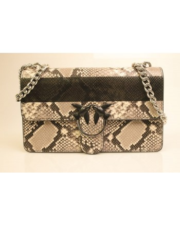 PINKO - Leather Bag LOVE PYTHON - Grey