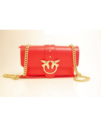 PINKO - Borsa in Pelle MINI LOVE SOFT - Rosso
