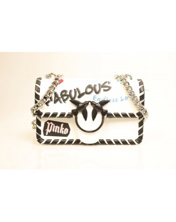 PINKO - LOVE FABULOUS Leather Bag - White