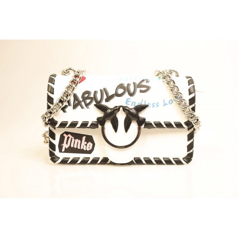 PINKO - Borsa in pelle LOVE FABULOUS - Bianco