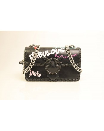 PINKO - Borsa in pelle MINI LOVE FABULOUS - Nero