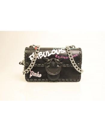 PINKO - MINI LOVE FABULOUS Leather Bag - Black
