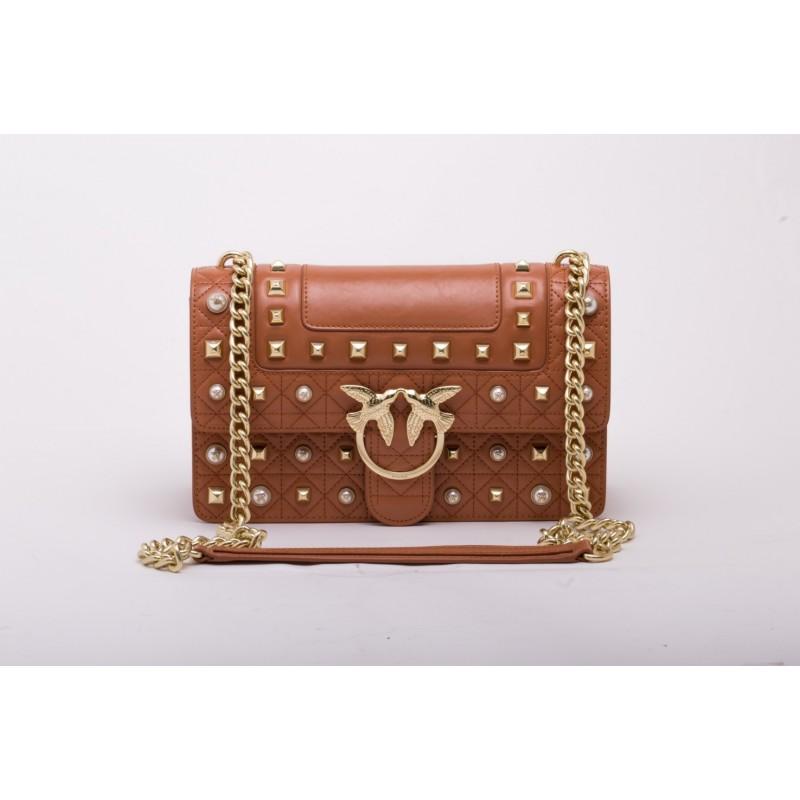 PINKO  - IDILLIO Medium Leather bag - Lightbrown