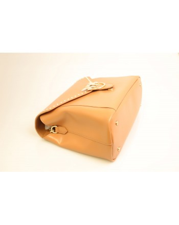 PINKO - Borsa in pelle ABBONDANZA - Light Brown