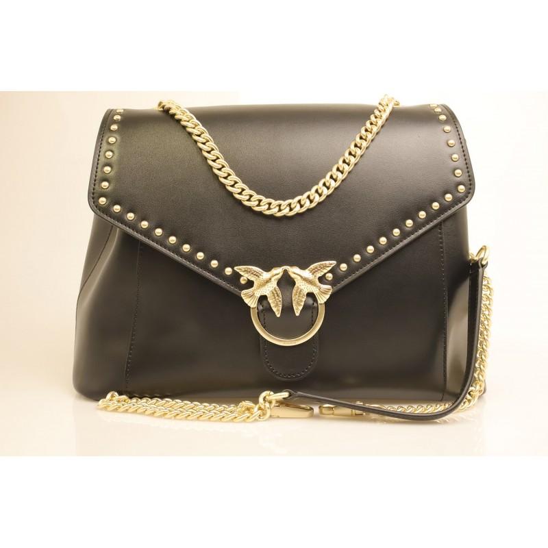PINKO -  leather bag ABBONDANZA - Black