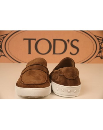 TOD'S -  Suede Loafers with Rope details - Brown