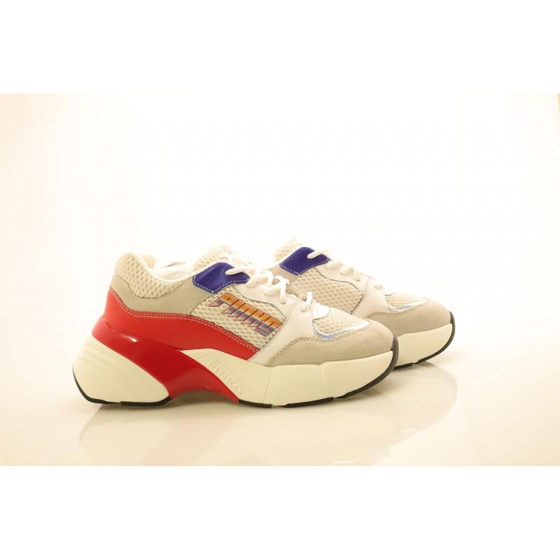 PINKO - Sneakers in tessuto tecnico a rete - Bianco/Rosso/Blu