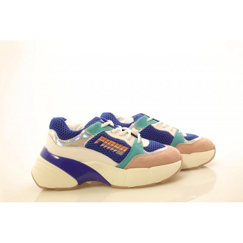 PINKO - Sneakers in tessuto tecnico a rete - Blu/Bianco/Rosa
