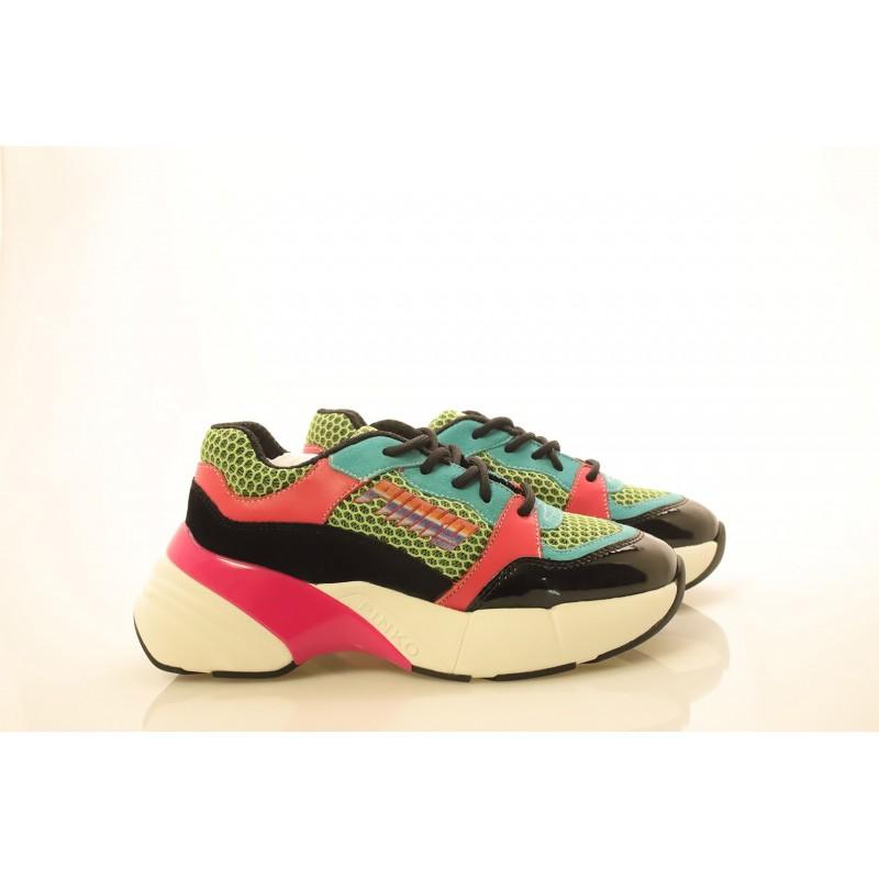 PINKO - Sneakers in tessuto tecnico a rete - Verde/Nero/Fucsia