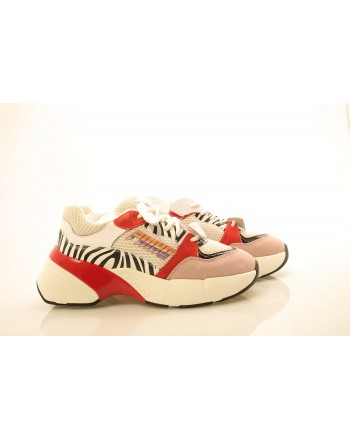 PINKO - Technical Fabric Sneakers - White/Black/Red
