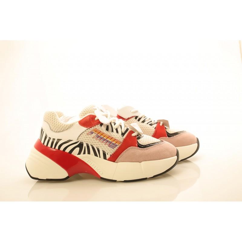 PINKO - Sneakers in tessuto tecnico a rete - Bianco/Nero/Rosso