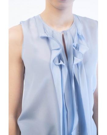 WEEKEND MAX MARA - T-Shirt con Ruches LAZISE - Azzurro