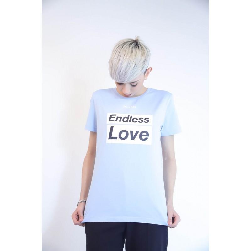 PINKO - Cotton T-Shirt SPONTANEO - Light Blue