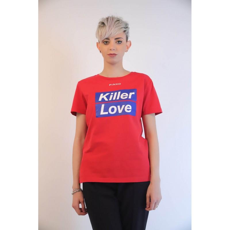 PINKO - Cotton T-Shirt SPONTANEO - Red