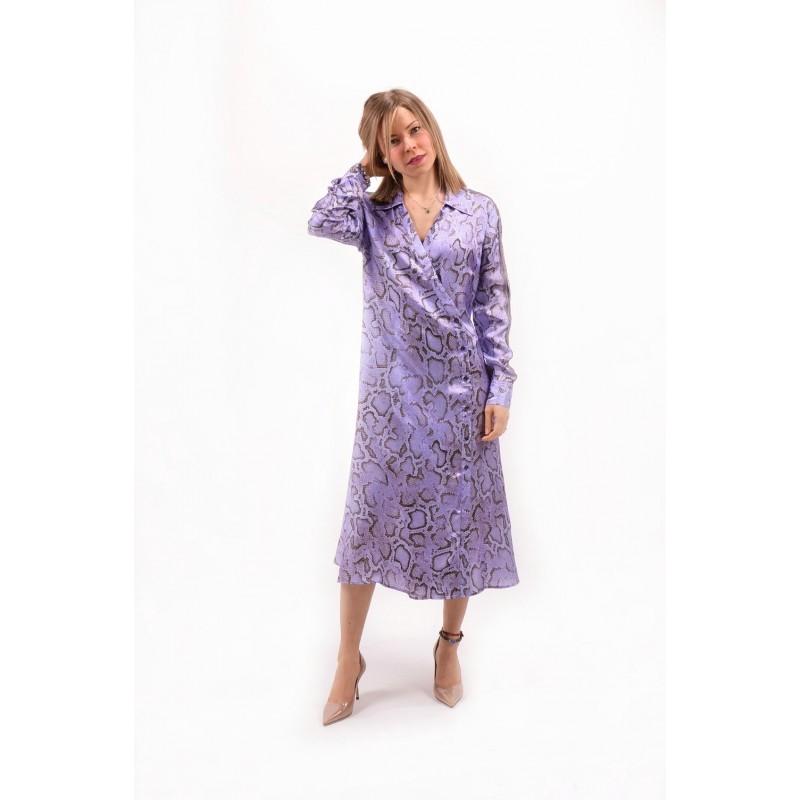 PINKO - Pithon Patterned Twill Dress AMALIA - Lilac/Violet