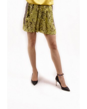 PINKO - Shorts in Viscosa a stampa Pitone GISELLA- Giallo /Marrone