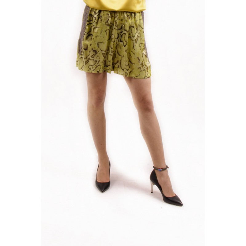 PINKO - Shorts in Viscosa a stampa Pitone GISELLA- Giallo /Marrone