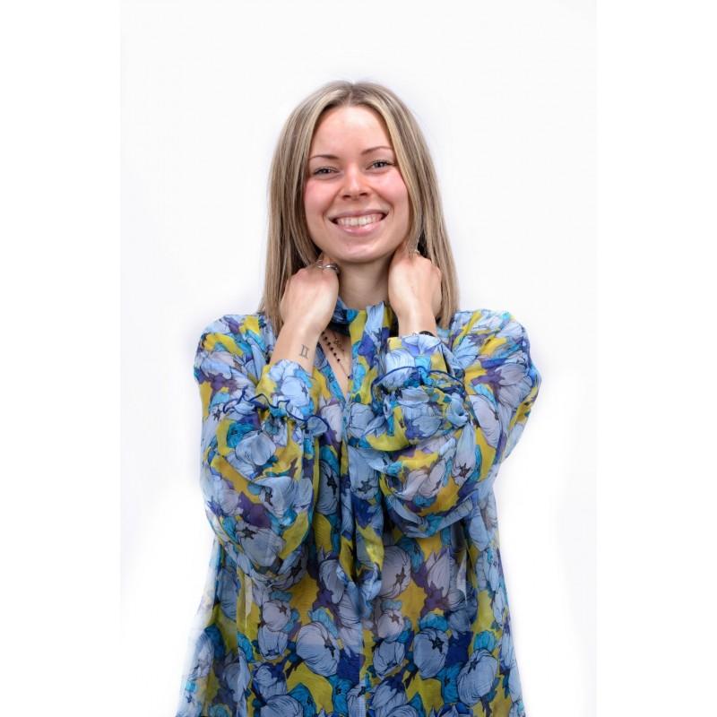 PINKO - Creponne Flower patterned Shirt IMPOSTATO- Blue/Light Blue