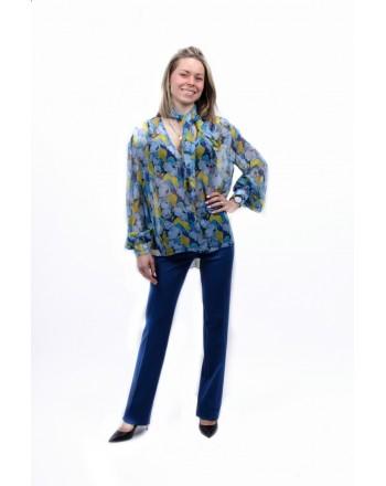 PINKO - Camicia in Creponne  a Fantasia Floreale IMPOSTATO- Cobalto/Azzurro