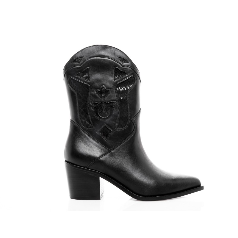PINKO - TEXANO leather Boot - Black