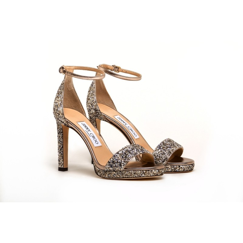 JIMMY CHOO - Glitter Sandal  MISTY 120  - Platinum Mix