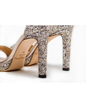 JIMMY CHOO - Sandalo MISTY 120 con Glitter - Platinum Mix