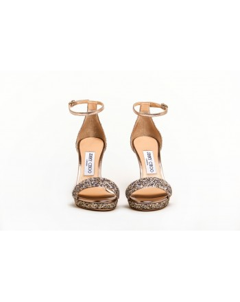 JIMMY CHOO - Glitter Sandal  MISTY 120  - Platinum Mix