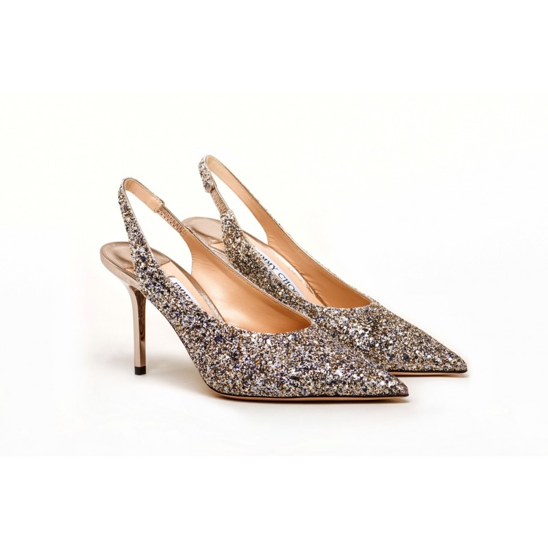 JIMMY CHOO -  Slingback shoe with Glitter IVY 85 - Platinum Mix