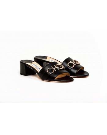 JIMMY CHOO - Leather Mules with Golden Logo - Black/Gold