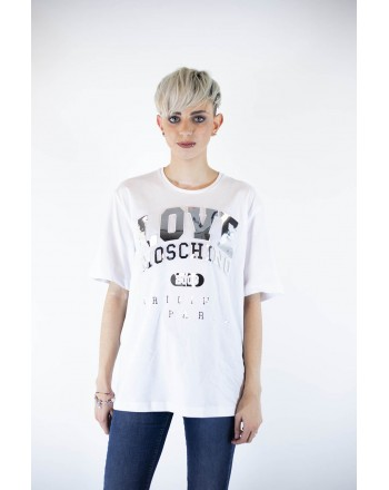 LOVE MOSCHINO - T-Shirt in cotone con patch - Bianco