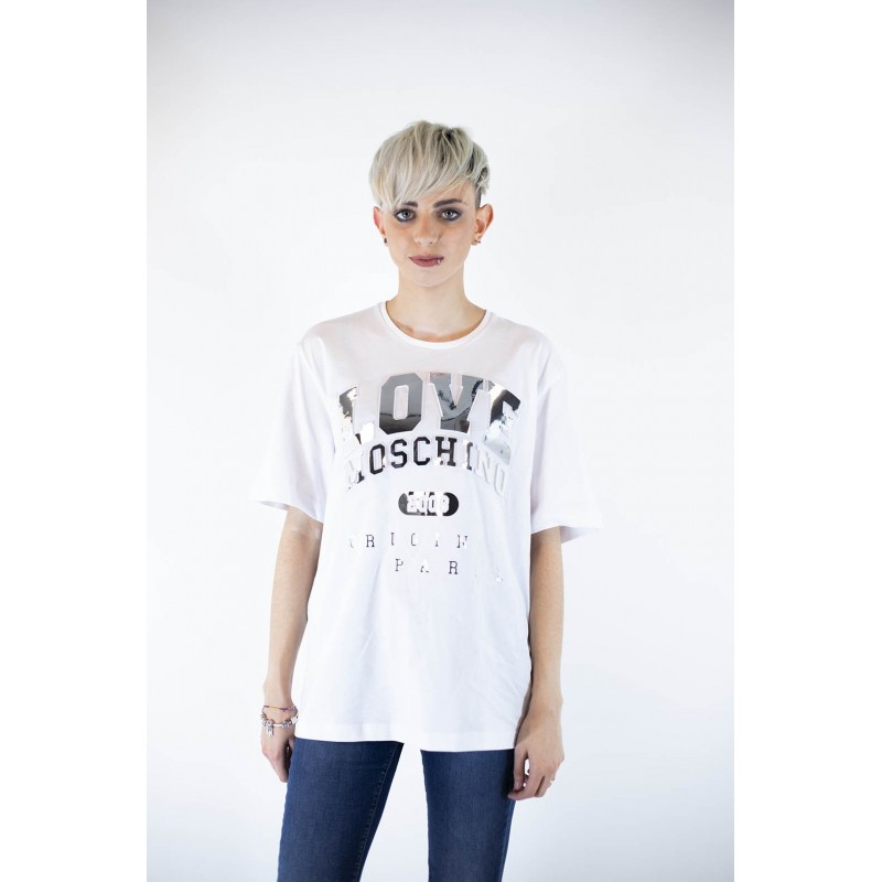LOVE MOSCHINO - Cotton T-shirt with patches - White