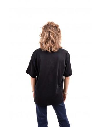 LOVE MOSCHINO - T-Shirt in cotone con patch - Nero/Silver
