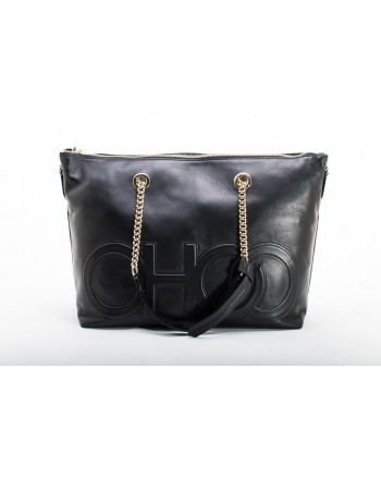 JIMMY CHOO - ALLEGRA  Leather Shopping Bag with CHOO printed Logo - Black