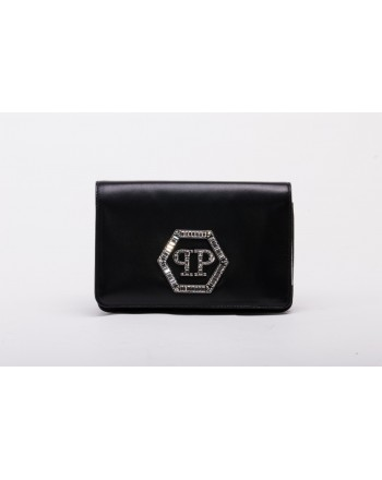 PHILIPP PLEIN - Borsa in Pelle POUCH STATEMENT - Nero