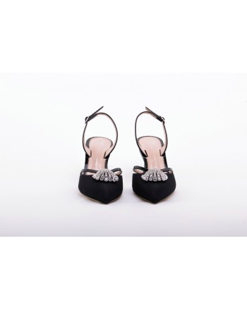 GIUSEPPE ZANOTTI - Leather Slingback with Rhinestone Detail - Black