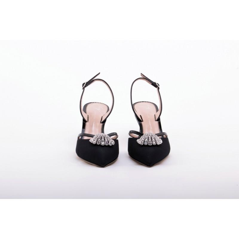 4d122d8b5bfc4 Sale GIUSEPPE ZANOTTI Leather Slingback with Rhinestone Detail Black -20%  Off Elsa Boutique