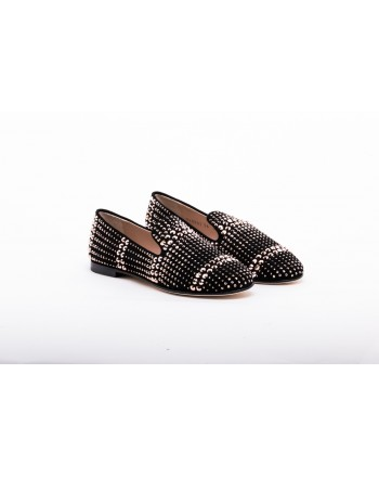 GIUSEPPE ZANOTTI - Suede Loafers with Metallic Studs - Black