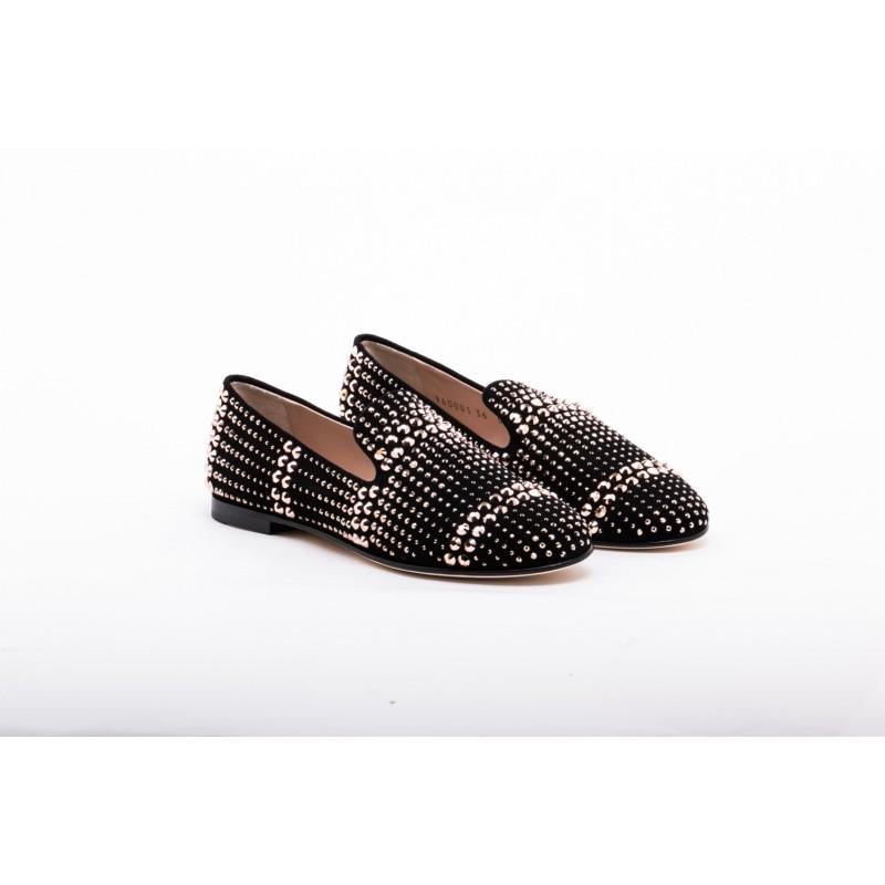 GIUSEPPE ZANOTTI - Suede Loafers with Metallic Studs - Black