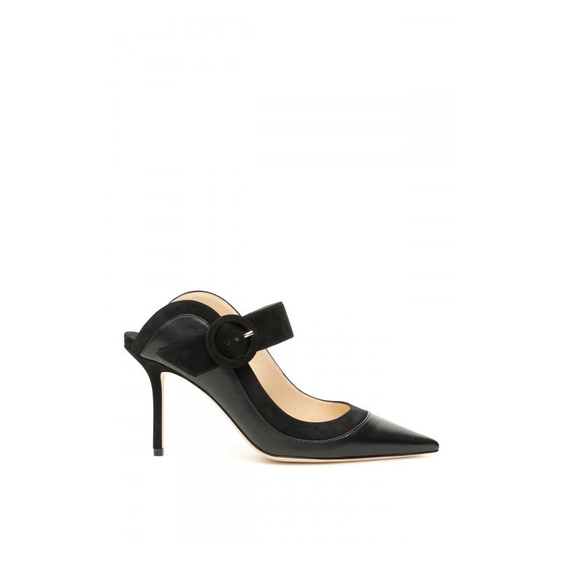 JIMMY CHOO - Leather and Suede Mules HENDRIX 85 - Black