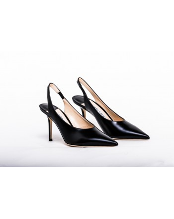 JIMMY CHOO - Leather Slingback LIQUID IVY 85  - Black