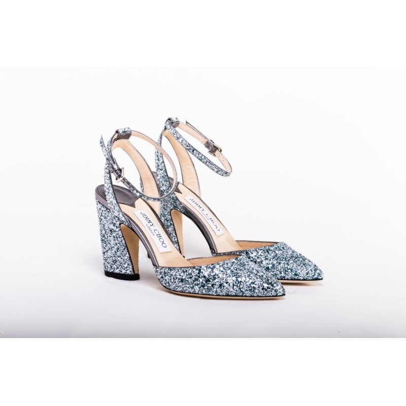 JIMMY CHOO - Glitter Pointy Toe Pumps MICKY 85 - Denim Mix
